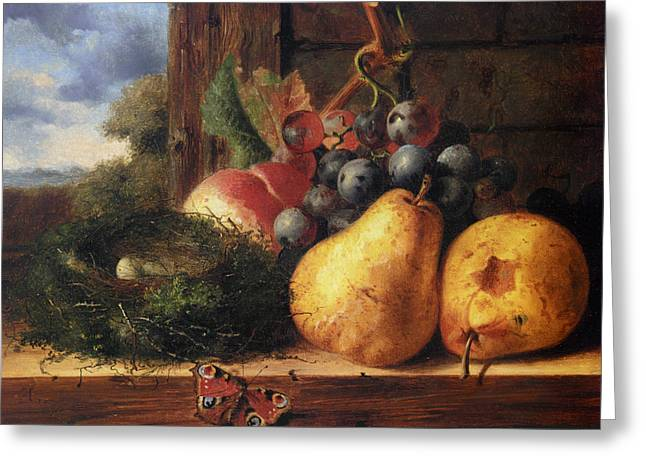 Fruit And Wine Digital Greeting Cards - Birds Nest Butterfly And Fruit Greeting Card by Edward Ladell