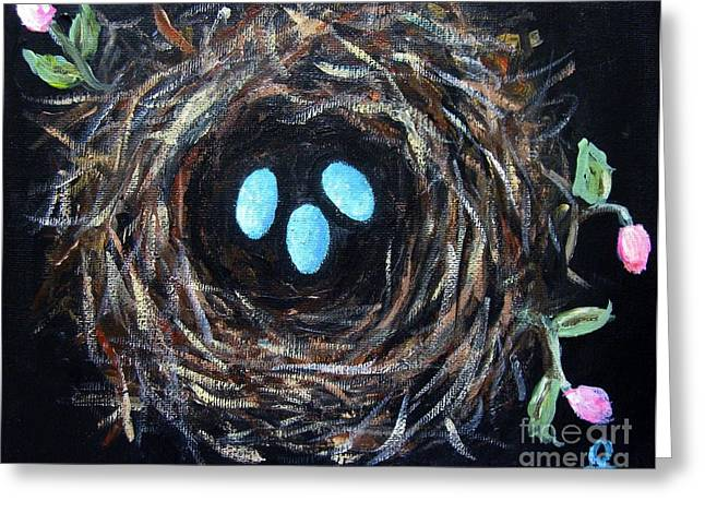 Vintage Painter Mixed Media Greeting Cards - Birds Nest Greeting Card by Venus