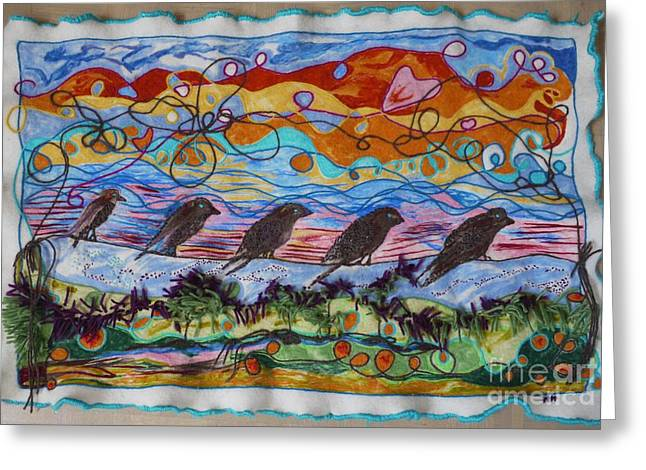 Wool Tapestries - Textiles Greeting Cards - Birds of a Feather 1 Greeting Card by Heather Hennick