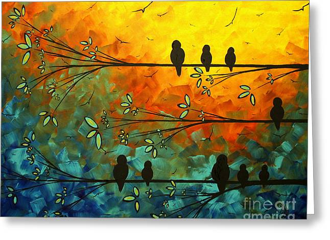 Birds of a Feather Original Whimsical painting Greeting Card by Megan Duncanson
