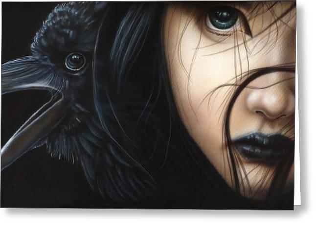 Birds Of Prey- Raven Greeting Card by Wayne Pruse