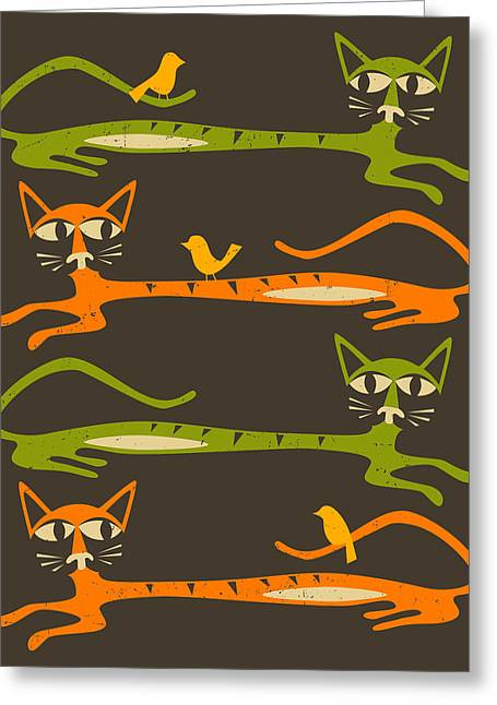 Colorful Birds Greeting Cards - Birds on a Cat Greeting Card by Jazzberry Blue