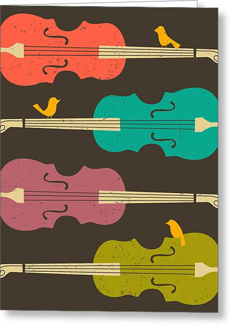 Cello Greeting Cards - Birds on a Cello Greeting Card by Jazzberry Blue