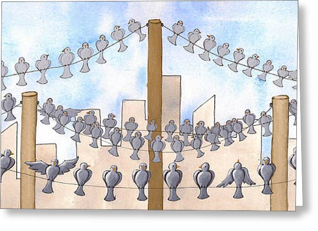 Gray Bird Greeting Cards - Birds on a Wire Greeting Card by Christy Beckwith
