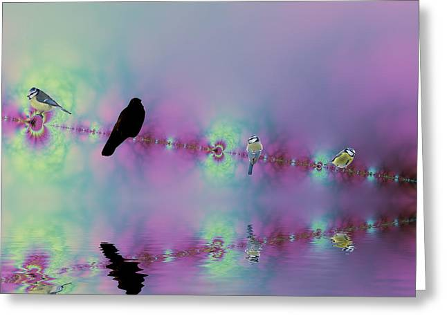 Birds On A Wire Reflected Greeting Card by Sharon Lisa Clarke