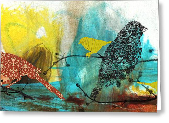 Abstract Digital Paintings Greeting Cards - Birds On Branches-B Greeting Card by Jean Plout