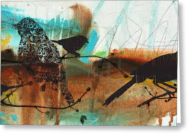 Abstract Digital Paintings Greeting Cards - Birds On Branches-C Greeting Card by Jean Plout