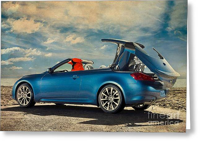 Posters On Mixed Media Greeting Cards - Birds on cars - Red on Porsche Greeting Card by Pablo Franchi