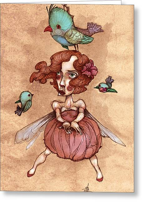 Retro Bird Greeting Cards - Birds On Head Woman Greeting Card by Autogiro Illustration
