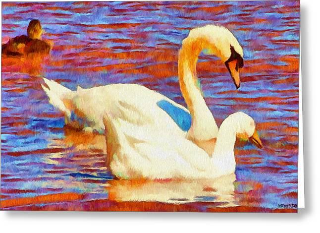 Birds Digital Art Greeting Cards - Birds on the Lake Greeting Card by Jeff Kolker