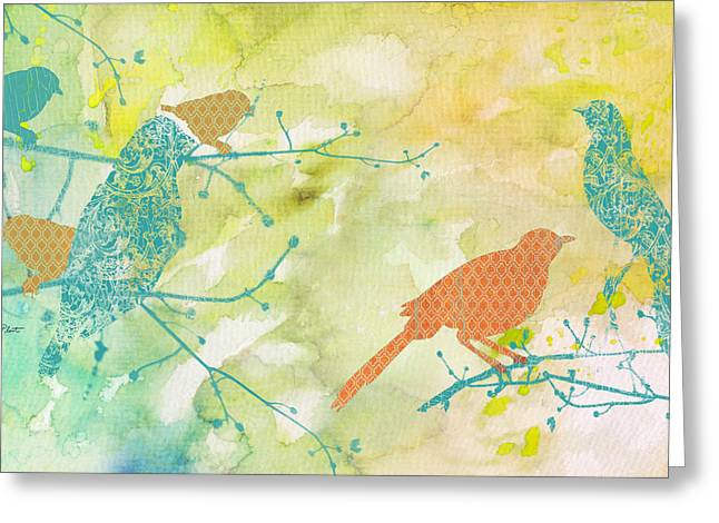 Abstract Digital Paintings Greeting Cards - Birds on Watercolor-A Greeting Card by Jean Plout