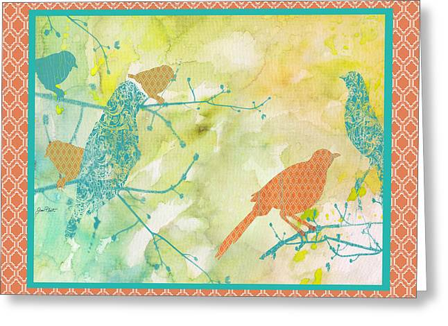 Abstract Digital Paintings Greeting Cards - Birds on Watercolor-B Greeting Card by Jean Plout