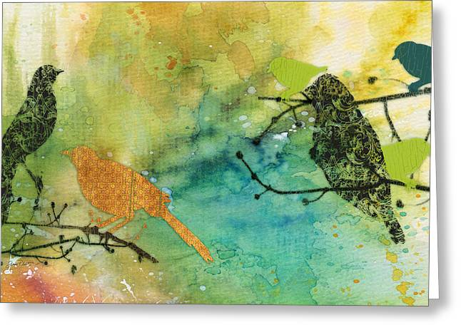 Abstract Digital Paintings Greeting Cards - Birds on Watercolor-C Greeting Card by Jean Plout
