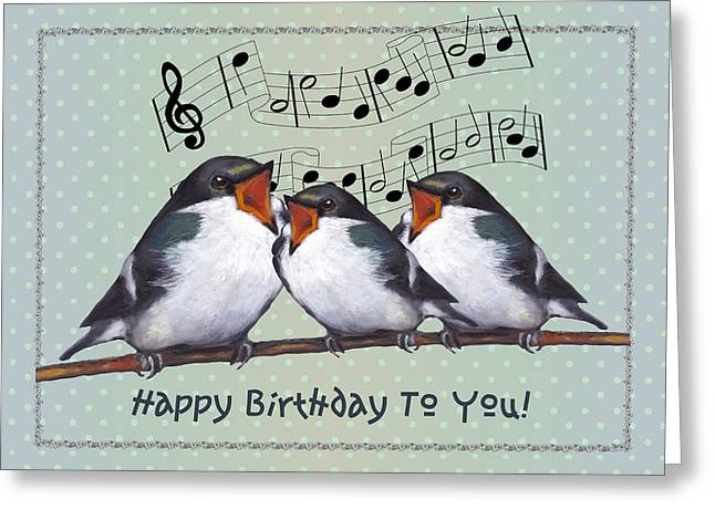 Wildlife Celebration Mixed Media Greeting Cards - Birds Singing Birthday Card Greeting Card by Joyce Geleynse
