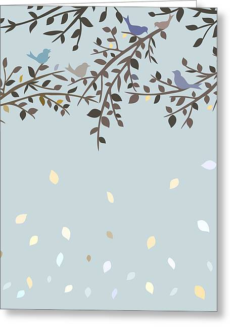 Bird On Tree Drawings Greeting Cards - Birds sitting on branches Greeting Card by Olivera Antic
