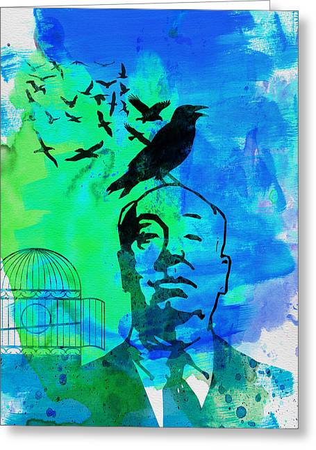 Famous Actor Paintings Greeting Cards - Birds Watercolor Greeting Card by Naxart Studio