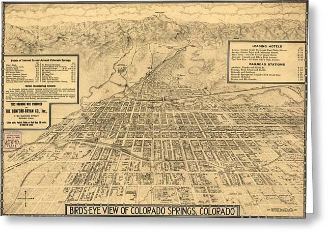 Birdseye Greeting Cards - Birdseye Map of Colorado Springs - 1909 Greeting Card by Eric Glaser