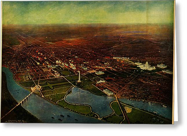 Birdseye Paintings Greeting Cards - Birdseye view of Washington 1916 Greeting Card by Celestial Images