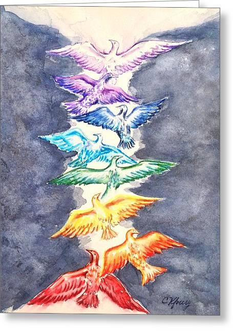 Chakra Rainbow Greeting Cards - Bird Song Chakra Greeting Card by Christine Kfoury