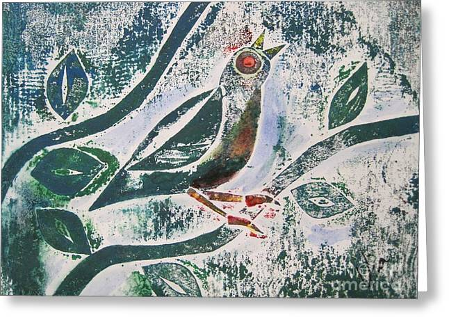 Printmaking Greeting Cards - Birdsong Greeting Card by Judy Via-Wolff