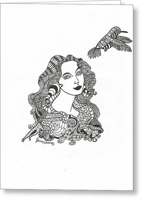 Birdwatcher Greeting Cards - Birdwatcher Wild Ink Greeting Card by Jamie Ramirez