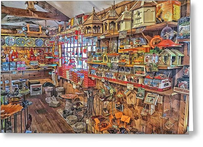 Birdwatcher Greeting Cards - Birdwatchers General Store Greeting Card by Constantine Gregory