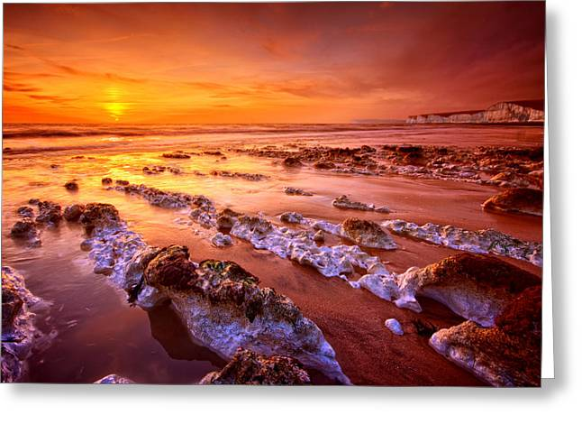 Beach Decor Posters Greeting Cards - Birling Gap Sunset Greeting Card by Mark Leader
