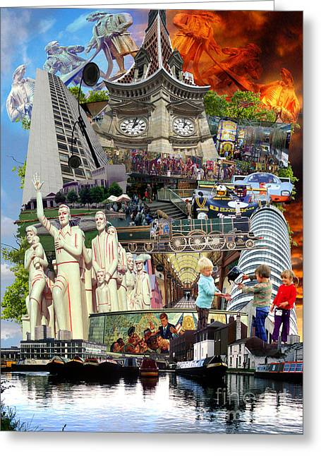 Mound Mixed Media Greeting Cards - BIRMINGHAM 1980s Montage Greeting Card by Neil Finnemore