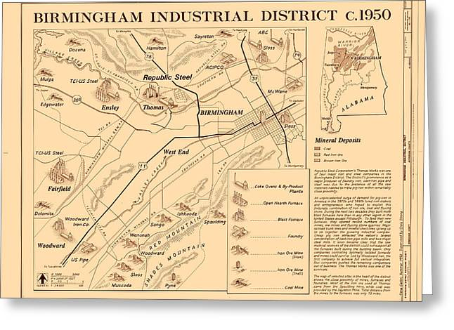 Alabama Drawings Greeting Cards - Birmingham Alabama Industrial District 1950 Greeting Card by Mountain Dreams
