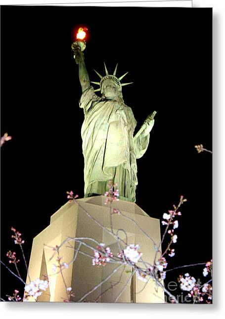 Burning Statue Greeting Cards - Birmingham Alabama Statue of Liberty Replica Greeting Card by Kathy  White
