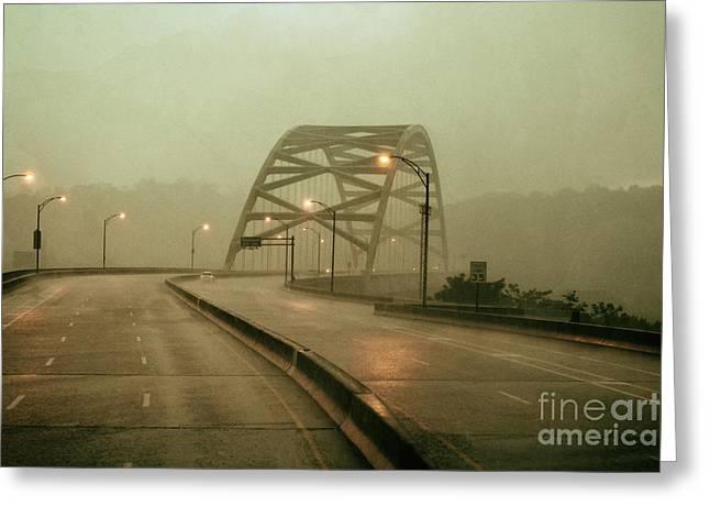 Analog Greeting Cards - Birmingham Bridge Downpour Greeting Card by Thomas R Fletcher