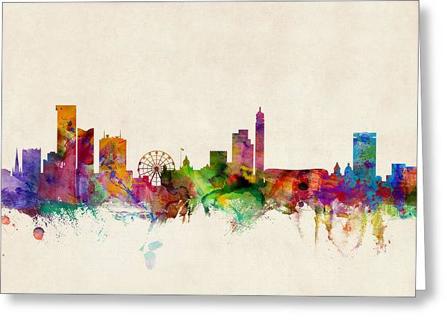 Britain Greeting Cards - Birmingham England Skyline Greeting Card by Michael Tompsett