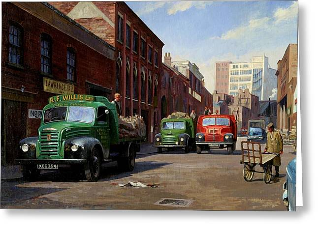 Pages Greeting Cards - Birmingham fruit and veg market. Greeting Card by Mike  Jeffries
