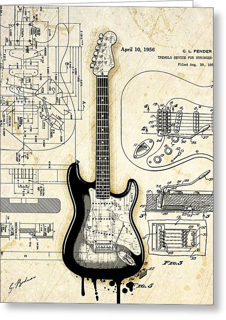 Les Greeting Cards - Fender Strat Birth Certificate Greeting Card by Gary Bodnar