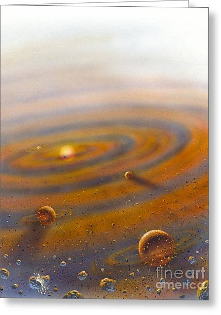 Cosmological Greeting Cards - Birth Of A Solar System, Artwork Greeting Card by David A. Hardy
