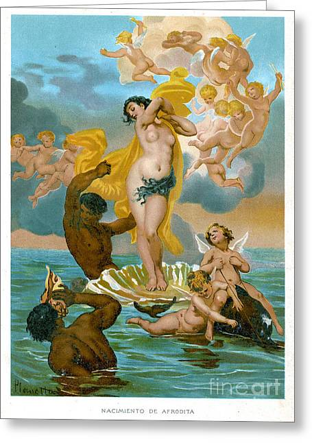 Historical Images Greeting Cards - Birth Of Aphrodite-1891 Lithograph Greeting Card by Mary Evans
