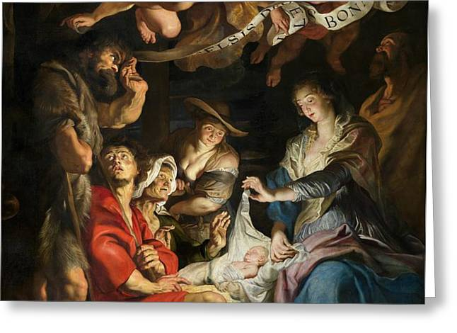 Birth of Christ Adoration of the Shepherds Greeting Card by Peter Paul Rubens