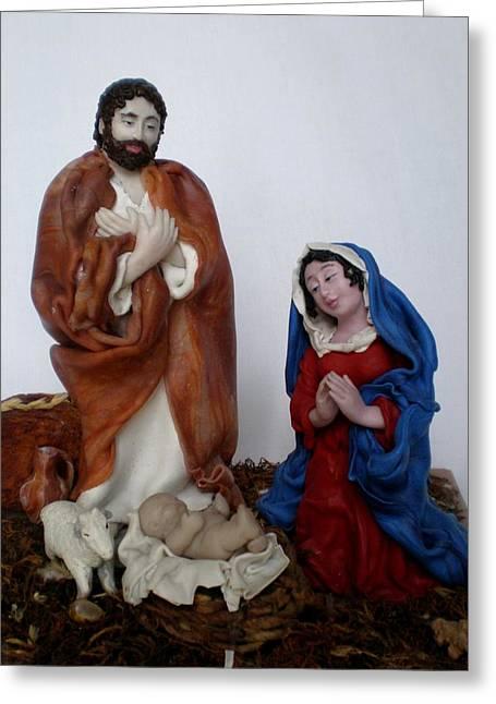 Christ Ceramics Greeting Cards - Birth of Jesus Greeting Card by Natalia Elerdashvili