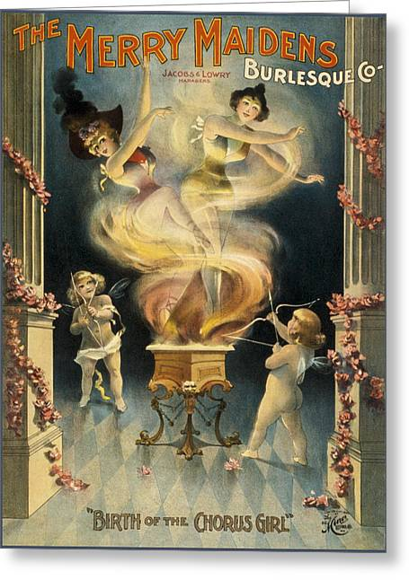 Musical Film Drawings Greeting Cards - Birth of the chorus girl Greeting Card by Aged Pixel