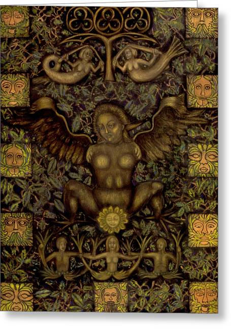 Europe Mixed Media Greeting Cards - Birth of the Greenman Greeting Card by Diana Perfect