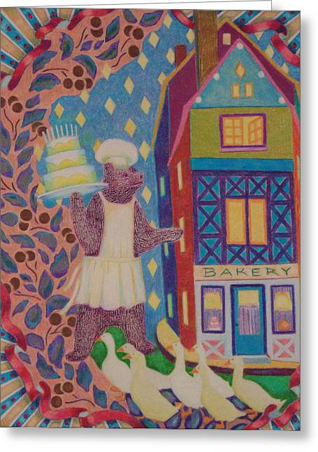 Montage Drawings Greeting Cards - Birthday Bear Greeting Card by Nancy Wayland