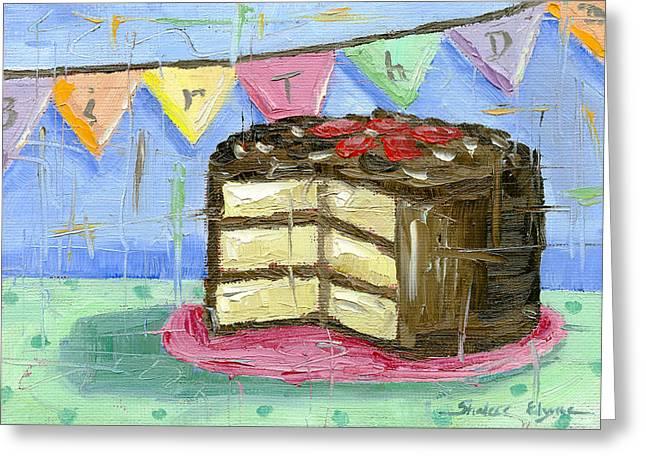 Birthday Cake Greeting Cards - Birthday Bunting Cake Greeting Card by Shalece Elynne