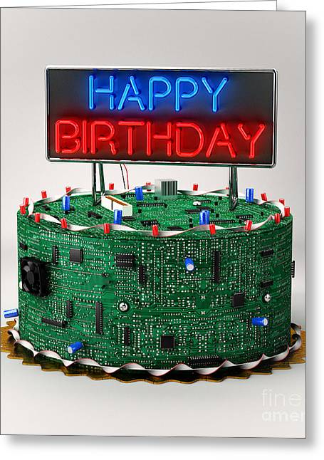 Component Digital Art Greeting Cards - Birthday Cake for Geeks Greeting Card by Carsten Reisinger