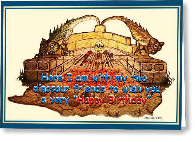 Wife Greeting Cards - Birthday Card Dinosaur Friends Greeting Card by Michael Shone SR
