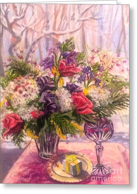 Table Wine Greeting Cards - Birthday Flowers Greeting Card by Gail Allen