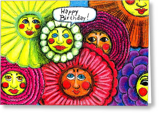 Stretching Drawings Greeting Cards - Birthday Flowers Greeting Card by Genevieve Esson