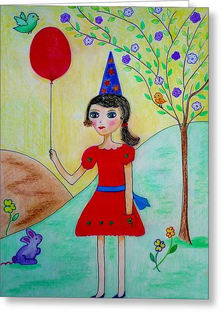 Balloon Flower Drawings Greeting Cards - Birthday in the park Greeting Card by Jo Ann