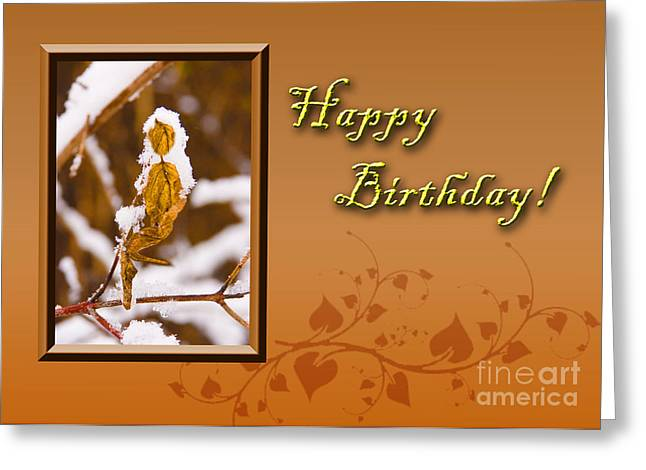 Wildlife Celebration Greeting Cards - Birthday Leaf Greeting Card by Jeanette K