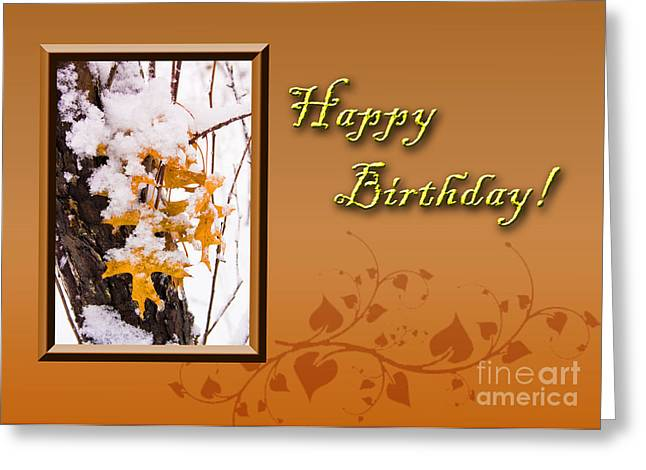 Wildlife Celebration Greeting Cards - Birthday Leaves Greeting Card by Jeanette K