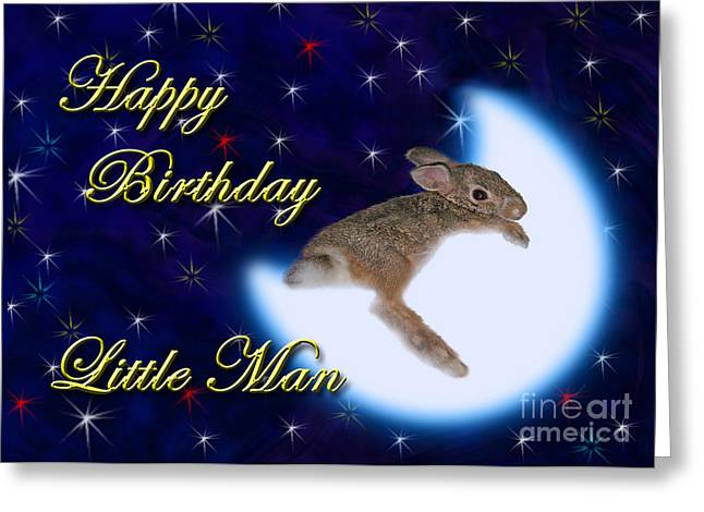 Wildlife Celebration Greeting Cards - Birthday Little Man Bunny Rabbit Greeting Card by Jeanette K